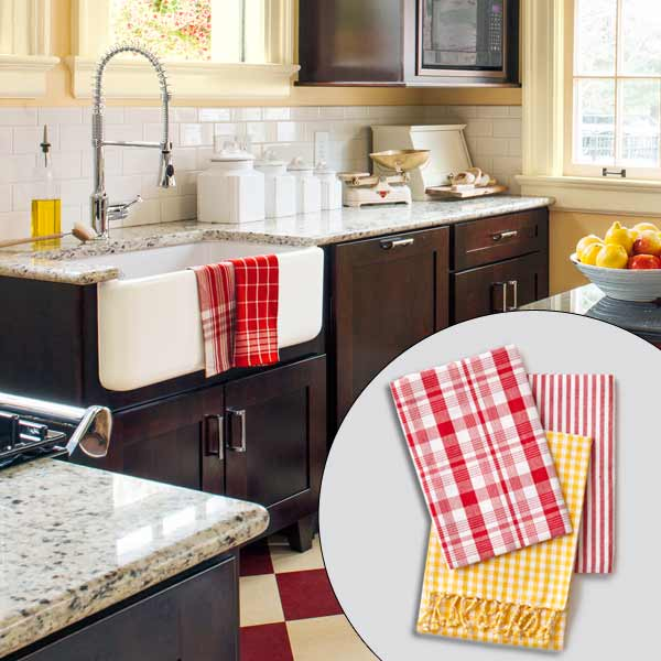 get this look british cottage style kitchen with striped and plaid dish towels