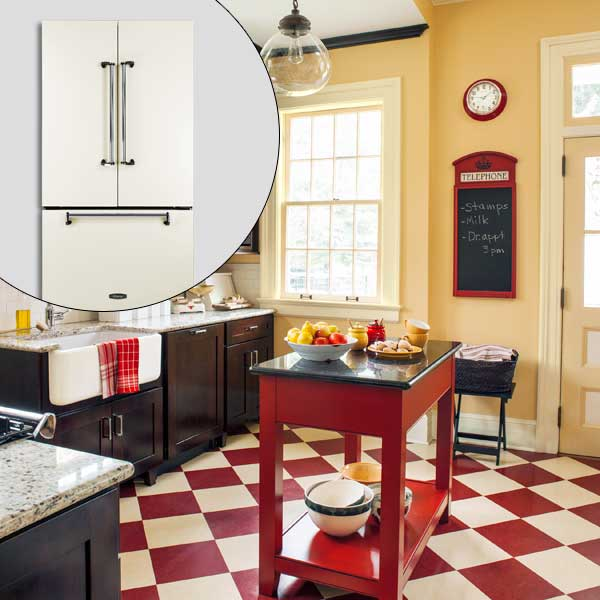 get this look british cottage style kitchen with French-door fridge