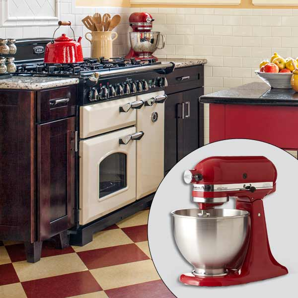 get this look british cottage style kitchen with KitchenAid enameled stand mixer