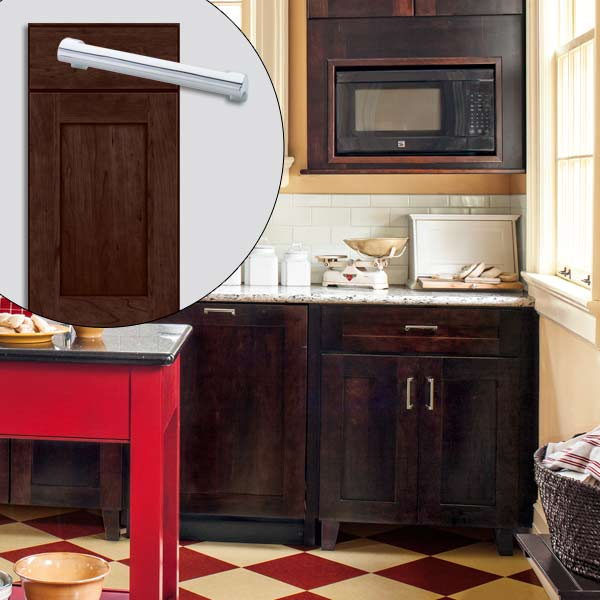 get this look british cottage style kitchen with Shaker style cabinets with brown stain, chrome cabinet pull