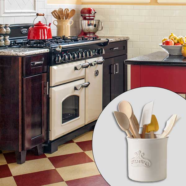 get this look british cottage style kitchen with kitchen utensil holder