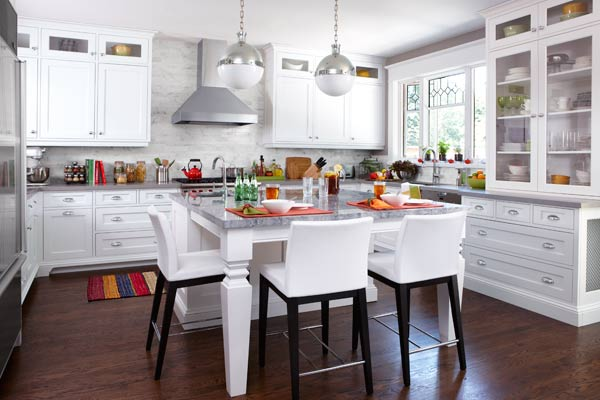 eat in kitchen after remodel with kitchen island with room for eating