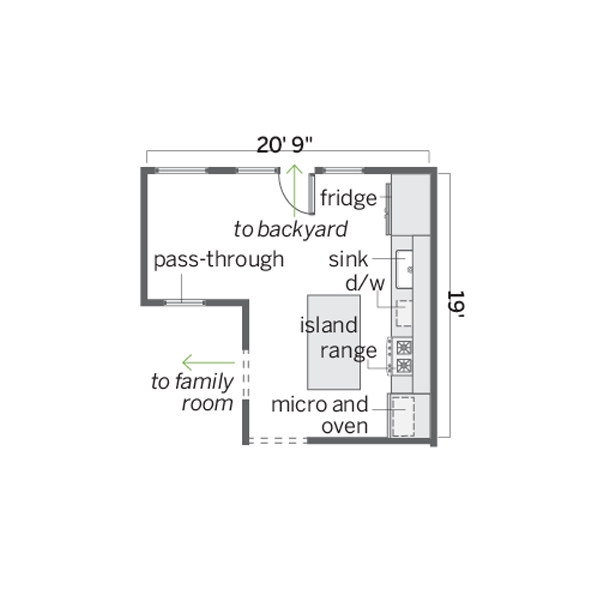 floor plan before remodel for eat in kitchen