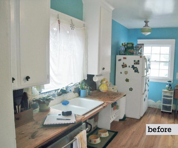 before remodel blue and white kitchen