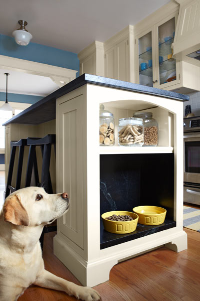 after remodel blue and white kitchen with kitchen island with dog feeding alcove
