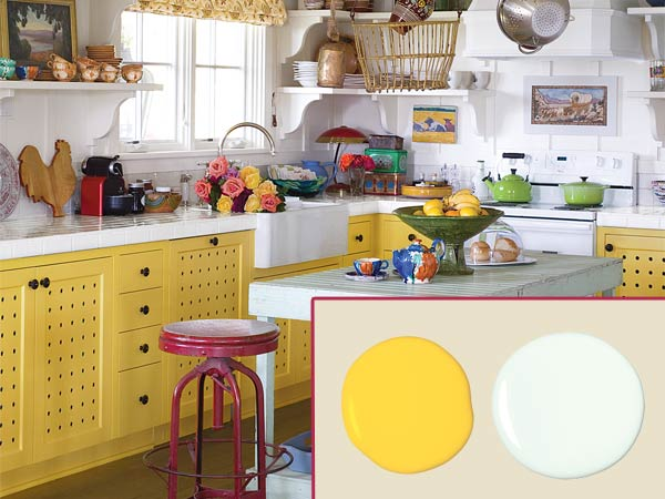 a quirky cottage kitchen with inset of paint daubs