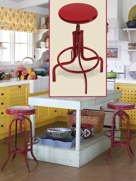 a quirky cottage kitchen with inset of swivel stool