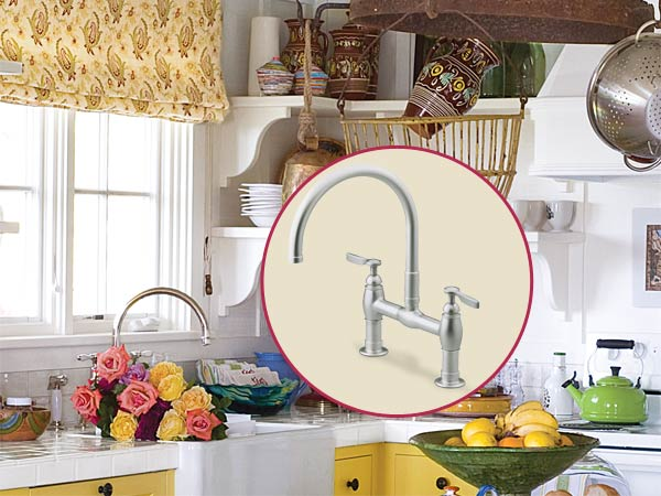 a quirky cottage kitchen with inset of kitchen faucet