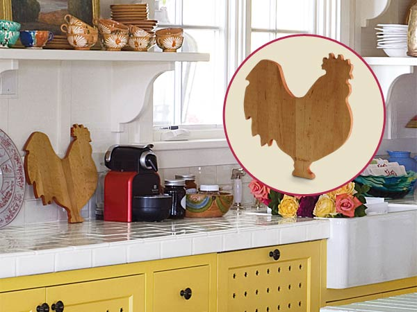 a quirky cottage kitchen with inset of rooster-shaped cutting board