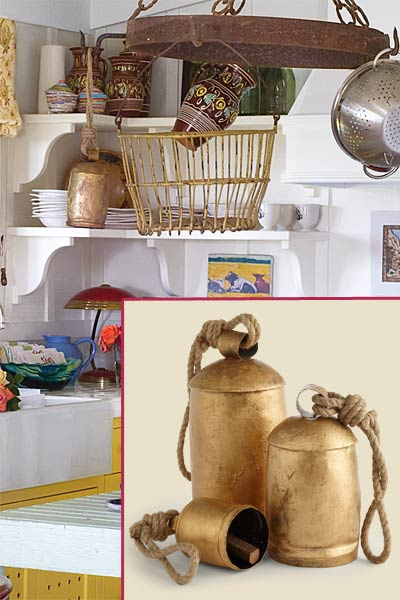 a quirky cottage kitchen with inset of temple bells