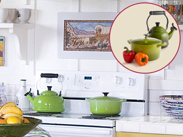 a quirky cottage kitchen with inset of green pots