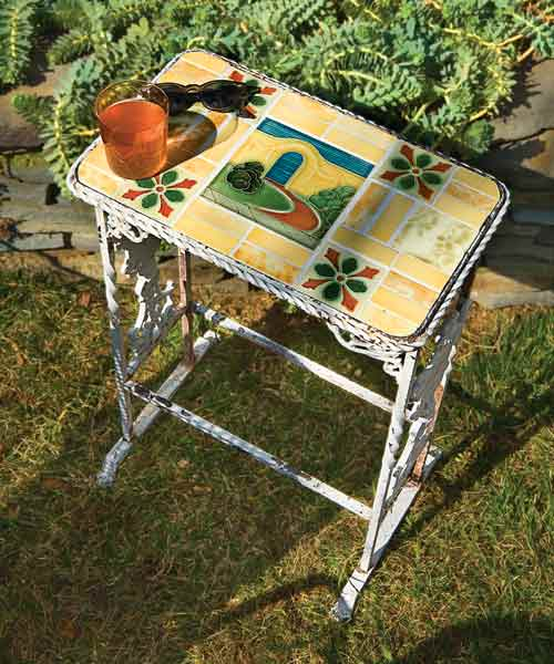 salvage project step by step outdoor tabletop with tile top