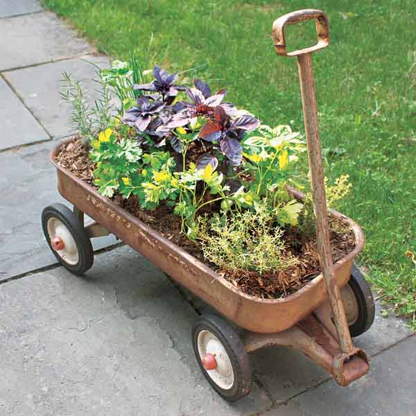 salvage project step by step herb planter wagon