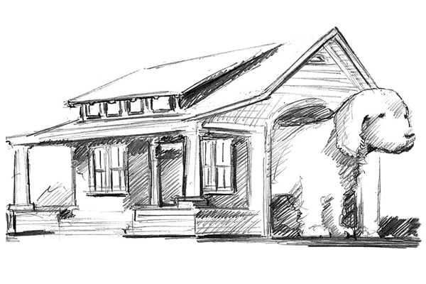 sketch of doghouse