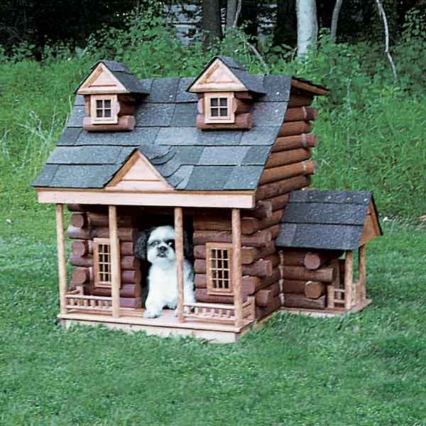 log cabin style doghouse