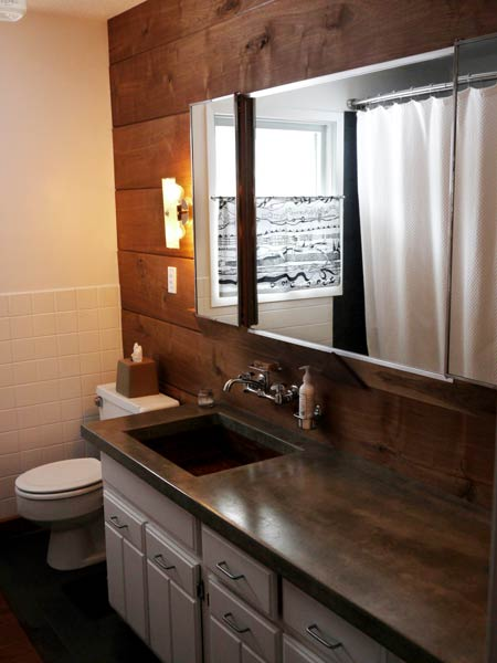 Unique Bathroom With Reclaimed Wood Sink And Custom