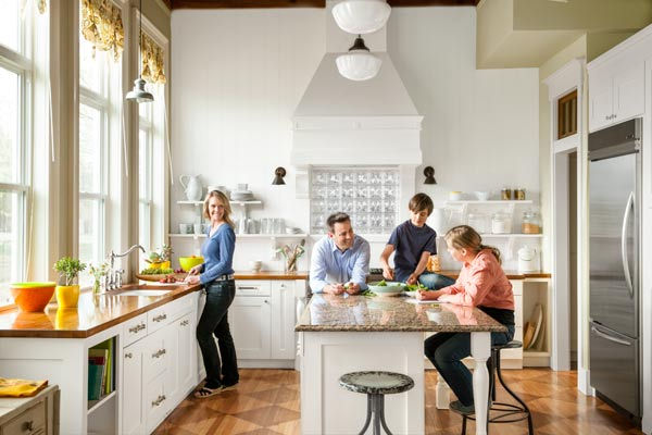 reader remodel contest winner 2013 whole house after with family in kitchen