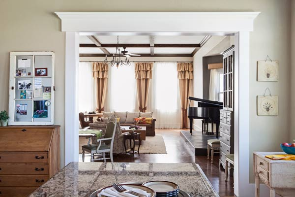 reader remodel contest winner 2013 whole house after kitchen looking into living room with burlap curtains and faux coffered ceiling