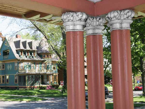 front porch view with Corinthian columns, save this old house toledo old west end american foursquare