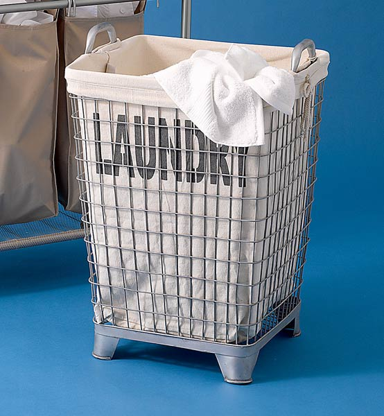 laundry bin with handles and bold lettering that says