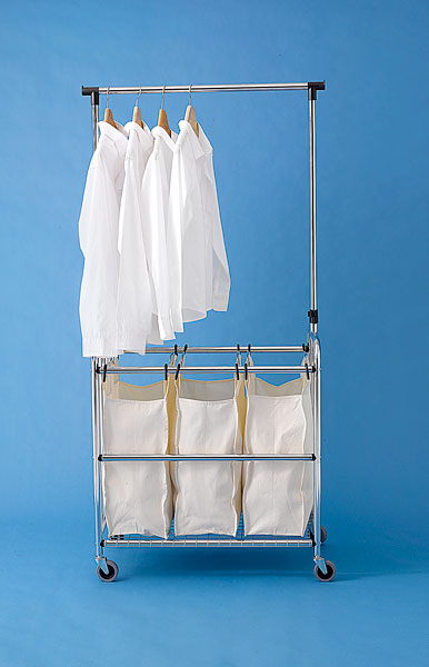 rolling laundry bin with crossbar for hanging to dry