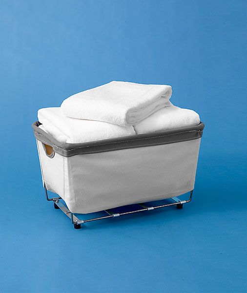 boxy style laundry bin with tapered sides