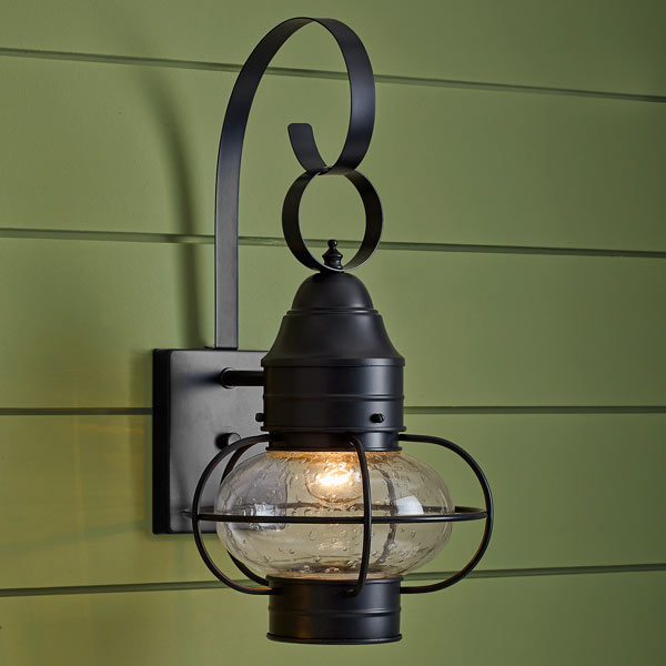 onion-style porch lanterns of steel with dark bronze finish and seeded glass