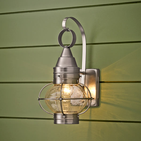 onion-style porch lantern of stainless steel with nickel finish and seeded glass globe