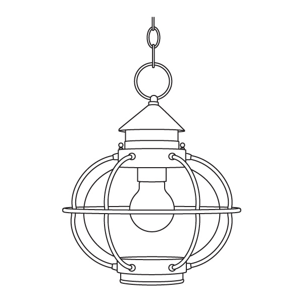 illustration of onion-style porch lantern hanging