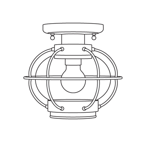 illustration of onion-style porch lantern flush mounted