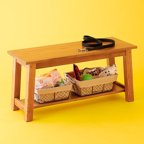 visible wood grain, with shelf to corral containers entryway bench