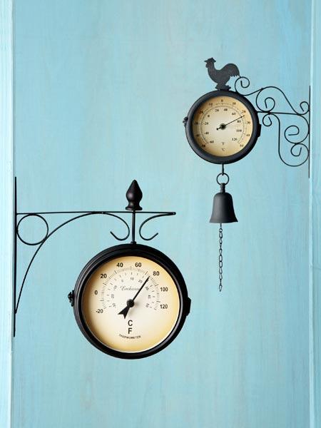 19-Cebtury style railway clock/thermometers