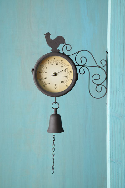 country style railway thermometer/clock with rooster silhouette, thermometer side facing
