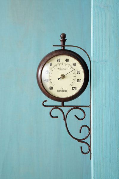 railway thermometer/clock with compact face and bracket, thermometer side facing