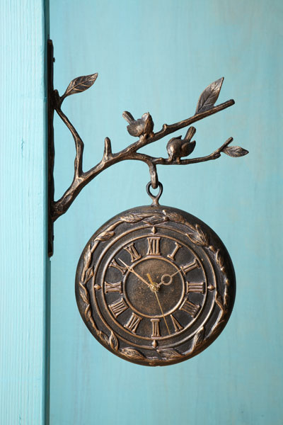 railway thermometer/clock with bird-bedecked, branch-themed bracket, clock side facing