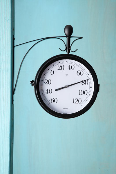 streamlined railway thermometer/clock with bold, black numbers, thermometer side facing
