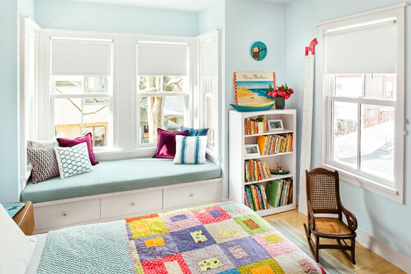 window seat in a child's bedroom of the renovated this old house tv cambridge project