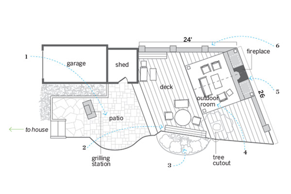 Floor plan outdoor areas joined a guest room and more for Patio home floor plans free