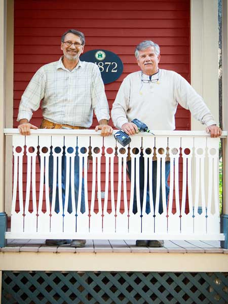 norm abram and tom silva with new italianate style porch balusters, toh tv arlington italianate house project