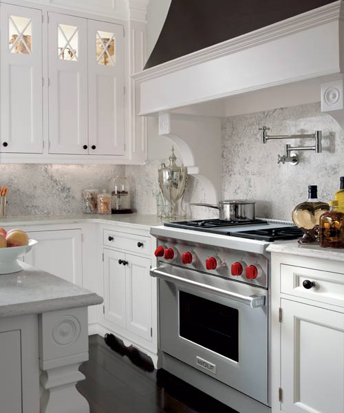 stainles steel pro style range with red knobs in white and gray kitchen, all about pro style kitchen ranges
