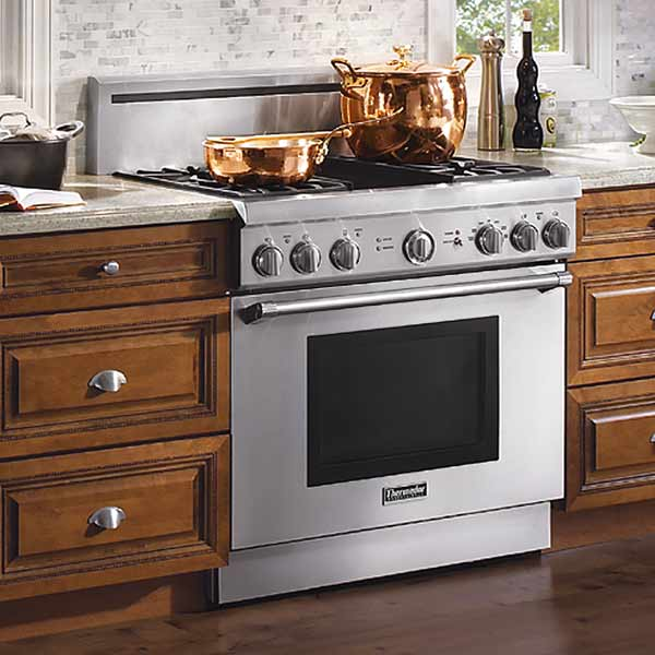 thermador 36 inch gas range with four burners and electric griddle, all about pro style kitchen ranges