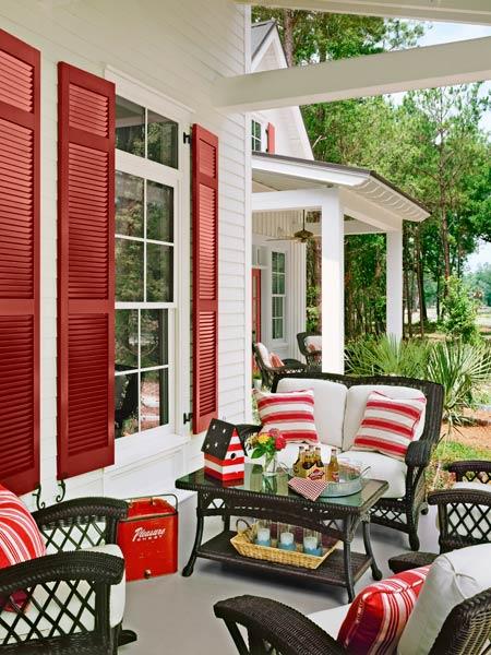 a patriotic-themed porch