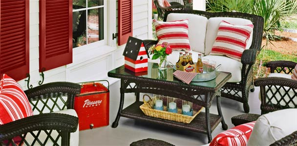 a patriotic-themed porch