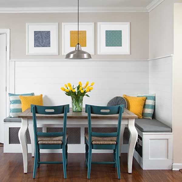 built in banquette in breakfast area, easy upgrade projects from home bloggers