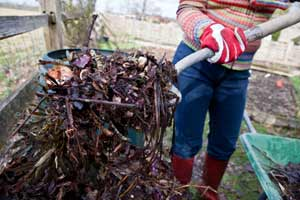 person turning over compost, fast fixes for august