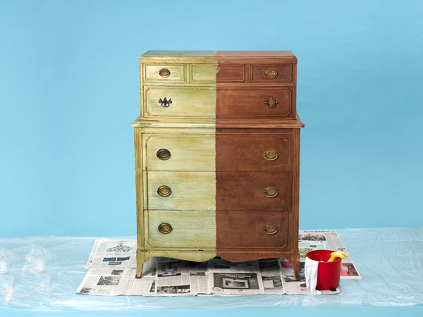 a dresser with half the paint stripped for visual effect
