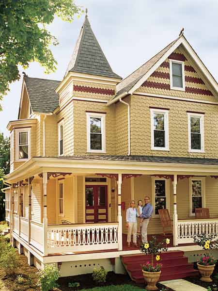 yellow queen anne house, whole house remodels of historic houses