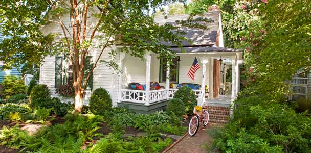Exterior White Victorian Remodel After