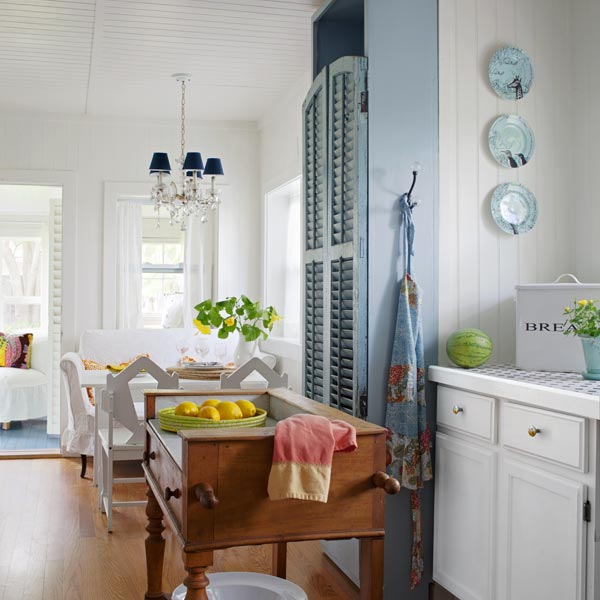 french washstand used as a kitchen island to illustrate nine Secrets of Cottage Style