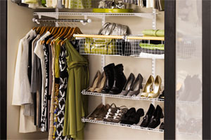 well organized bedroom closet storage